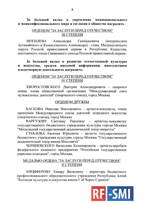 Путин наградил деятелей искусства орденами и знаками отличия