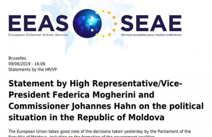 Евросоюз признал новое правительство Молдовы