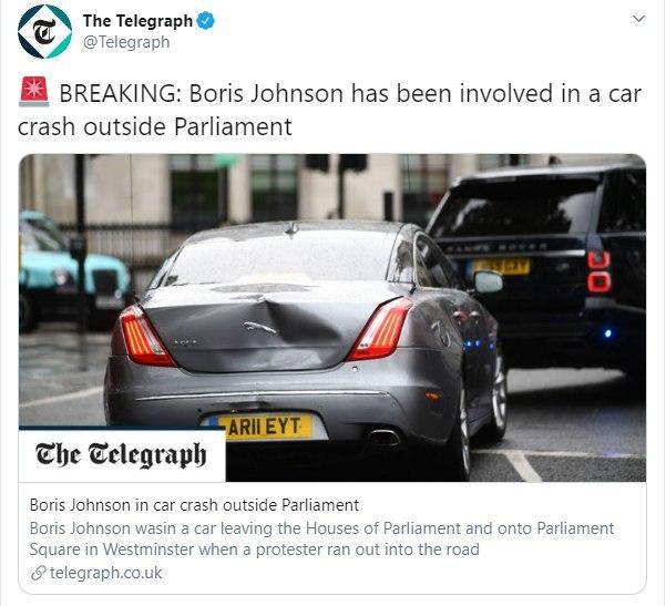 Борис Джонсон попал в ДТП возле здания британского Парламента