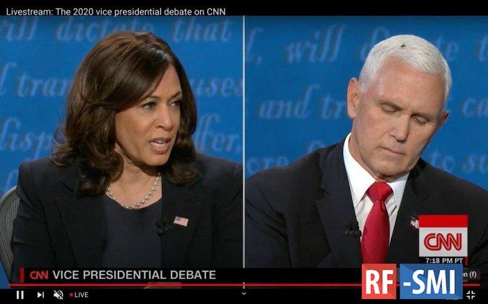 На дебатах Майка Пенса и Камалы Харрис победила муха