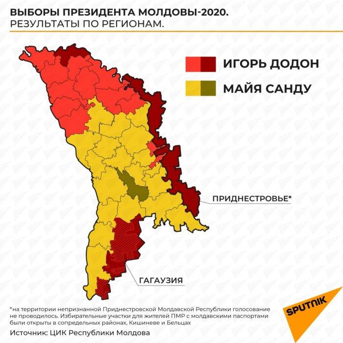 Вот так голосовали регионы Молдовы на выборах президента