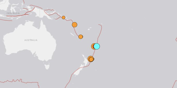 У берегов Новой Зеландии произошло третье землетрясение магнитудой 8,0