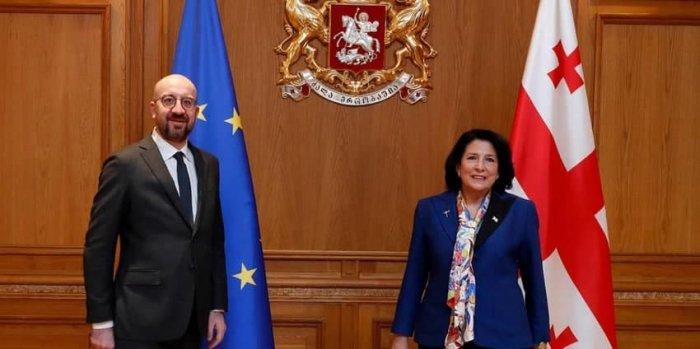 Президент Грузии проводит встречу с президентом Европейского Совета