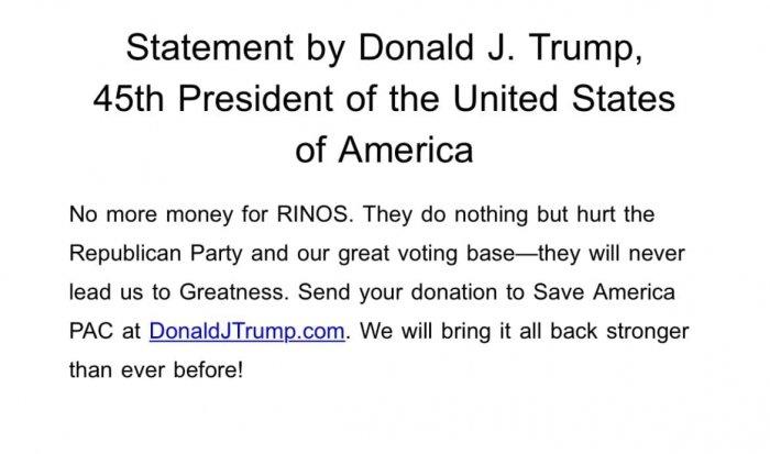 Трамп призвал жертвовать деньги Республиканской партии через его имя