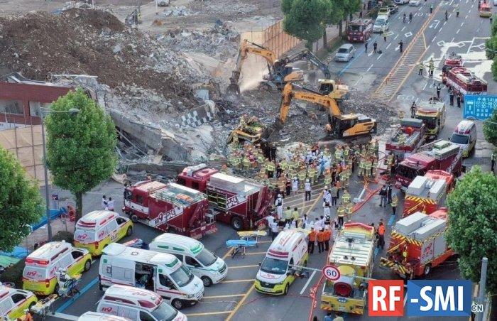 В Южной Корее пятиэтажный дом во время демонтажа рухнул на автобусную остановку