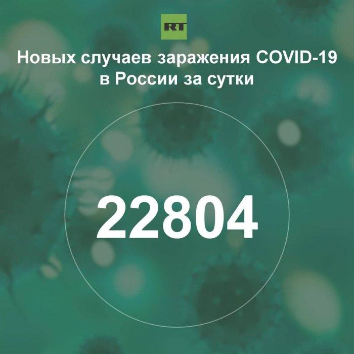 За сутки в России выявили 22 804 случая инфицирования коронавирусом